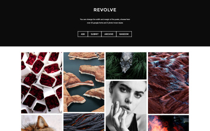 Tumblr theme Revolve - Imagery Focused for the Modernist